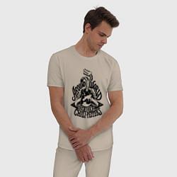 Пижама хлопковая мужская RHCP: Around World цвета миндальный — фото 2
