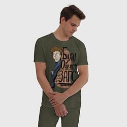 Пижама хлопковая мужская Zags цвета меланж-хаки — фото 2