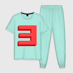 Пижама хлопковая мужская Eminem: Big E цвета мятный — фото 1