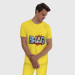 Пижама хлопковая мужская SWAG Eye цвета желтый — фото 2
