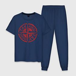 Пижама хлопковая мужская Taknado: Stone Island цвета тёмно-синий — фото 1