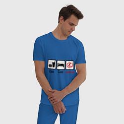 Пижама хлопковая мужская Еда, сон и Lexus цвета синий — фото 2