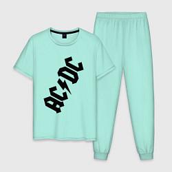 Пижама хлопковая мужская AC/DC цвета мятный — фото 1