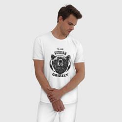 Пижама хлопковая мужская Russian Grizzly цвета белый — фото 2