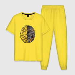 Пижама хлопковая мужская Мозг инженера цвета желтый — фото 1