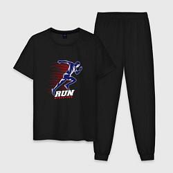 Пижама хлопковая мужская Fast Run цвета черный — фото 1