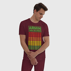 Пижама хлопковая мужская Armin van Buuren: EQ цвета меланж-бордовый — фото 2