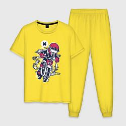 Пижама хлопковая мужская Уличный мотоциклист цвета желтый — фото 1