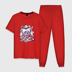 Пижама хлопковая мужская Уличный художник цвета красный — фото 1