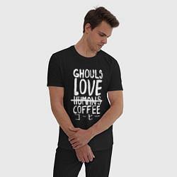 Пижама хлопковая мужская Ghouls Love Coffee цвета черный — фото 2