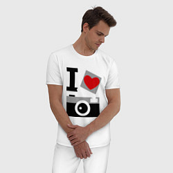 Пижама хлопковая мужская Я люблю фото цвета белый — фото 2