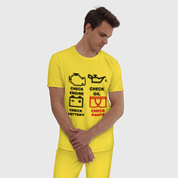 Пижама хлопковая мужская Check Pants цвета желтый — фото 2
