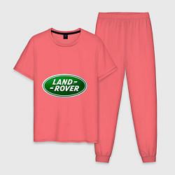 Пижама хлопковая мужская Logo Land Rover цвета коралловый — фото 1