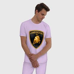 Пижама хлопковая мужская Lamborghini logo цвета лаванда — фото 2