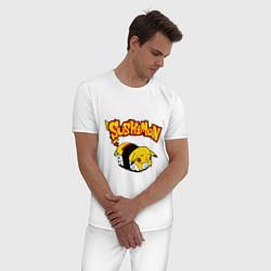 Пижама хлопковая мужская SushiMon цвета белый — фото 2
