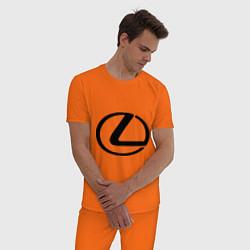 Пижама хлопковая мужская Logo lexus цвета оранжевый — фото 2