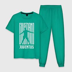 Пижама хлопковая мужская Cris7iano Juventus цвета зеленый — фото 1