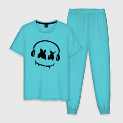 Пижама хлопковая мужская Marshmello Music цвета бирюзовый — фото 1