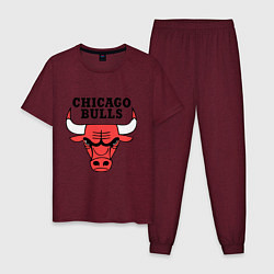 Пижама хлопковая мужская Chicago Bulls цвета меланж-бордовый — фото 1