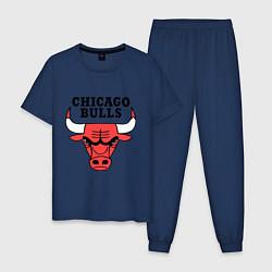 Пижама хлопковая мужская Chicago Bulls цвета тёмно-синий — фото 1