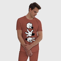 Пижама хлопковая мужская Rock paper scissors цвета кирпичный — фото 2