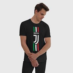 Пижама хлопковая мужская FC Juventus: Italy цвета черный — фото 2