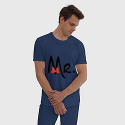 Пижама хлопковая мужская Mr. Bow цвета тёмно-синий — фото 2
