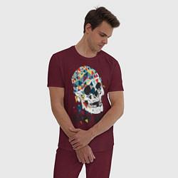 Пижама хлопковая мужская Rape me цвета меланж-бордовый — фото 2