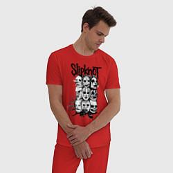 Пижама хлопковая мужская Slipknot Faces цвета красный — фото 2