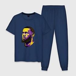Пижама хлопковая мужская Демонский Леброн цвета тёмно-синий — фото 1