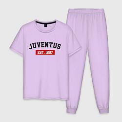 Пижама хлопковая мужская FC Juventus Est. 1897 цвета лаванда — фото 1
