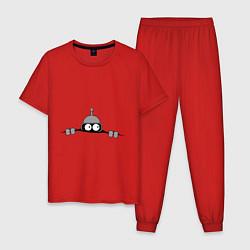 Пижама хлопковая мужская Бэндер подглядывает цвета красный — фото 1