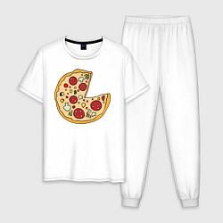 Пижама хлопковая мужская Пицца парная цвета белый — фото 1