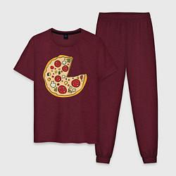 Пижама хлопковая мужская Пицца парная цвета меланж-бордовый — фото 1