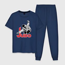 Пижама хлопковая мужская Judo Master цвета тёмно-синий — фото 1