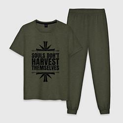 Пижама хлопковая мужская Harvest Themselves цвета меланж-хаки — фото 1