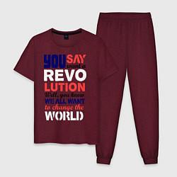 Пижама хлопковая мужская The Beatles Revolution цвета меланж-бордовый — фото 1