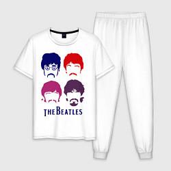 Пижама хлопковая мужская The Beatles faces цвета белый — фото 1