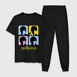 Пижама хлопковая мужская The Beatles: pop-art цвета черный — фото 1