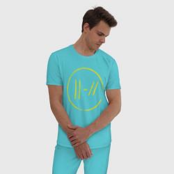Пижама хлопковая мужская Twenty One Pilots: Trench цвета бирюзовый — фото 2