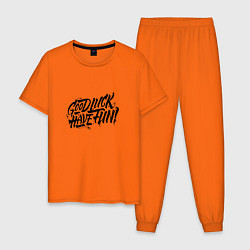 Пижама хлопковая мужская GLHF цвета оранжевый — фото 1
