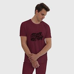 Пижама хлопковая мужская GLHF цвета меланж-бордовый — фото 2