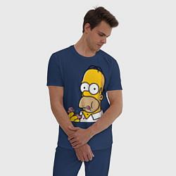 Пижама хлопковая мужская Гомер с Пончиком цвета тёмно-синий — фото 2