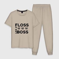 Пижама хлопковая мужская Floss like a boss цвета миндальный — фото 1