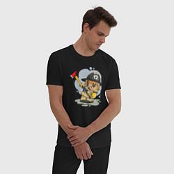 Пижама хлопковая мужская Медвежонок-пожарник цвета черный — фото 2
