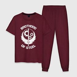 Пижама хлопковая мужская Brothood of Steel цвета меланж-бордовый — фото 1
