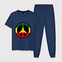 Пижама хлопковая мужская Peace Symbol цвета тёмно-синий — фото 1