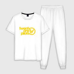 Пижама хлопковая мужская Twenty One Pilots цвета белый — фото 1