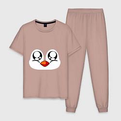 Пижама хлопковая мужская Морда пингвина цвета пыльно-розовый — фото 1