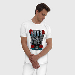 Пижама хлопковая мужская Guns n Roses: illustration цвета белый — фото 2
